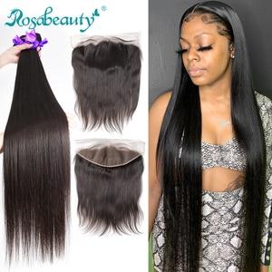 Image 1 - Rosabeauty прямые 28 30 40 дюймов 3 4 пряди с фронтальным кружевом дешевые Remy бразильские 100% человеческие волосы плетение и закрытие