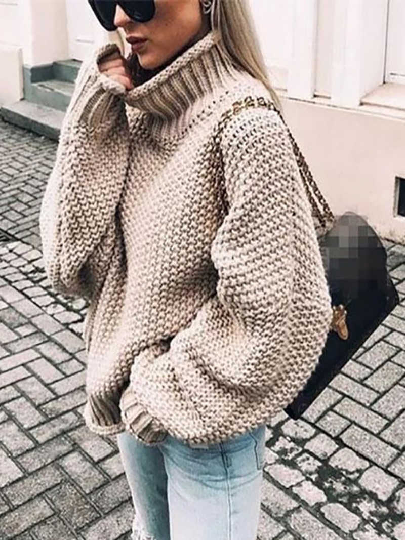 Women's Casual Turtleneck Sweaters Long Sleeve Loose Pullover Knit Sweater Jumper Top Oversized Chunky Knit Pullover Sweater