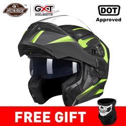 GXT, Новый мотоциклетный шлем, флип-ап, шлем для мотокросса, Capacete da Motocicleta Cascos, Мото шлем, двойной объектив, гоночный шлем для верховой езды #