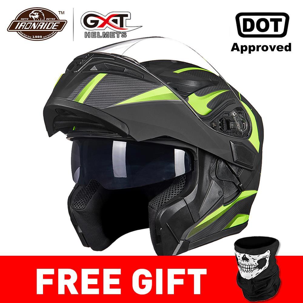 GXT nouveau Casque de Moto rabattable Casque de Motocross Capacete da Motocicleta Cascos Moto Casque double lentille course Casque d'équitation #