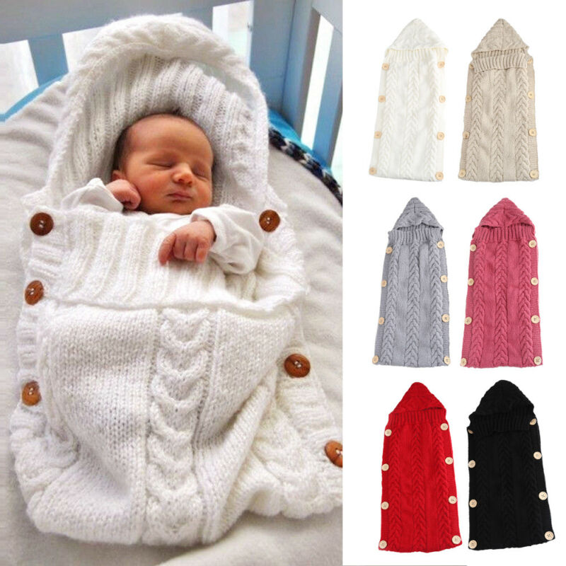 2020 Baby Sleeping Bag Knitted Envelope For Newborns Infant Baby Boy Girl Blanket Crochet Wool Warm Swaddle Wrap Sleeping Bag