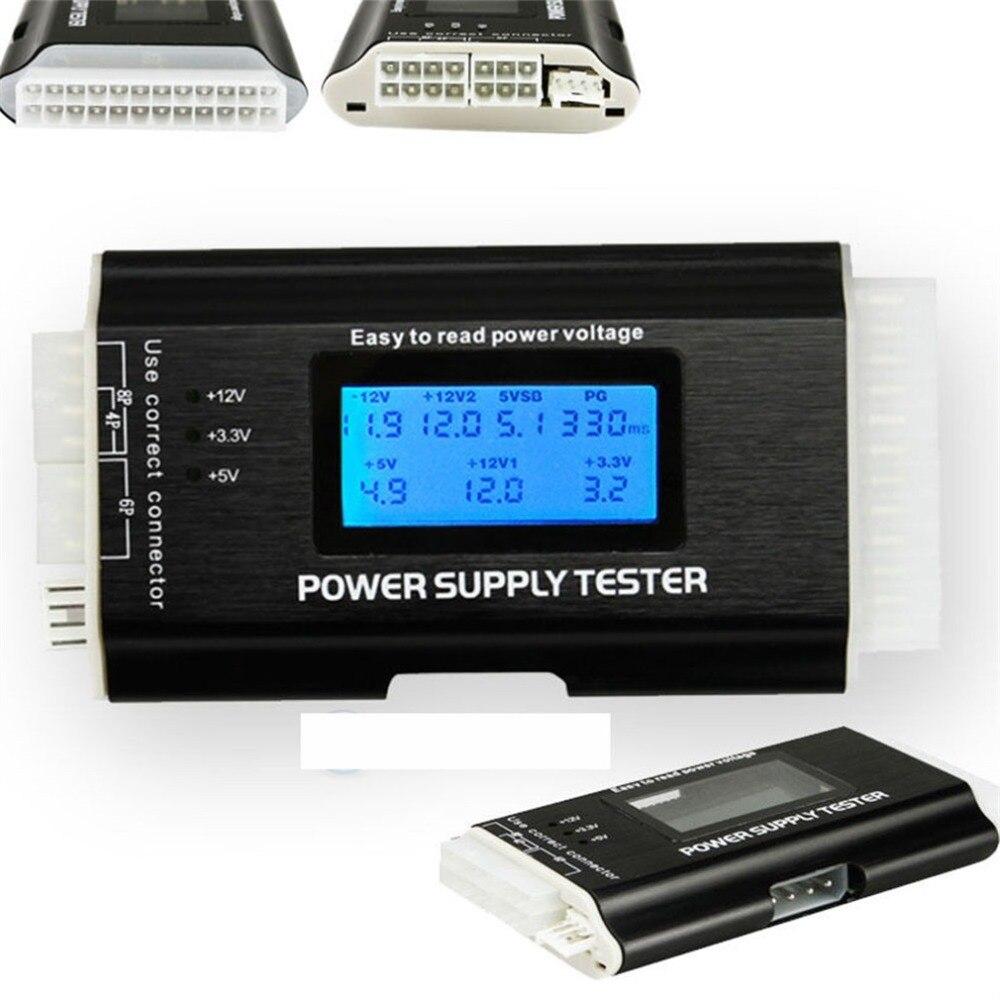 Computer PC Power Supply Tester Checker 20/24 pin SATA HDD ATX BTX Meter LCD di Vendita Calda di Goccia Trasporto Libero