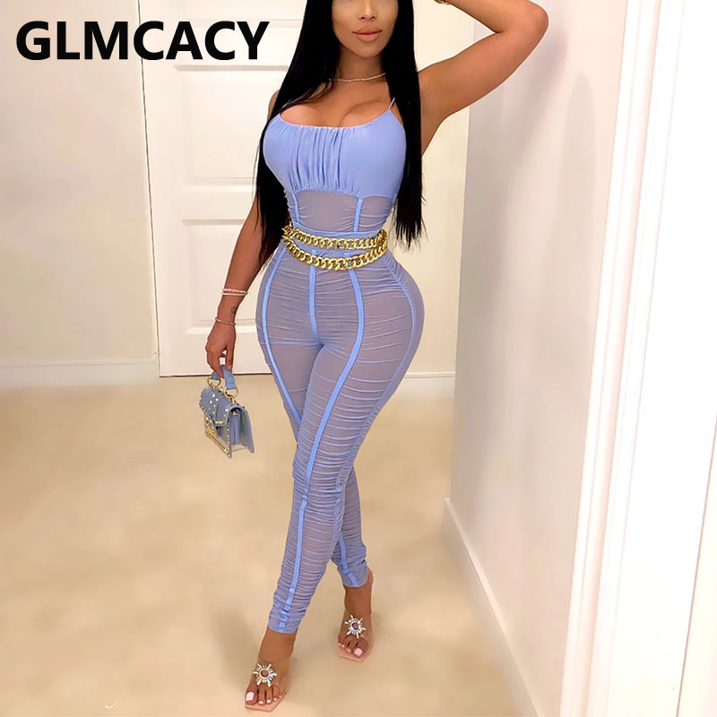 Women Spaghetti Stap Mesh Jumpsuit Sexy Ruched Skinny Solid overalls Chic Party Club Jumpsuit