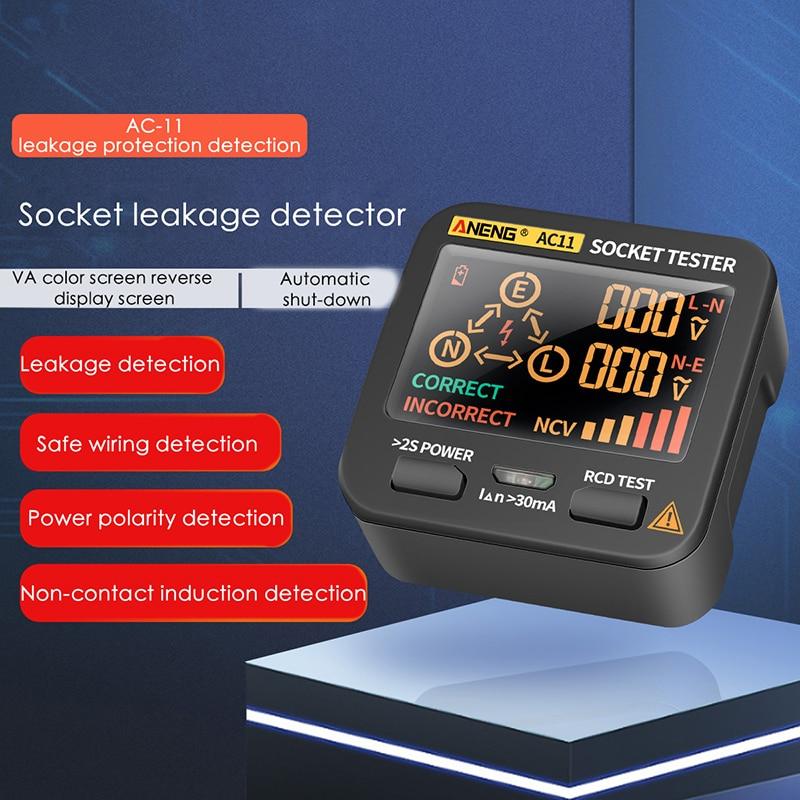 AC11 Digital Tester Voltage Test Socket Detector US/UK/EU/AU Plug Ground Zero Line Phase Check NCV test