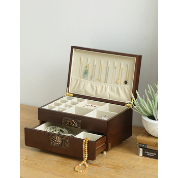 Dressing Table Earrings Cosmetics Jewelry All in one Receptacle Box Dust proof Vintage Wooden Drawer