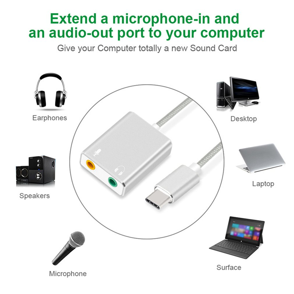 Внешний тип-C Звуковая карта USB 3.1 для MacBook Pro воздуха с USB-C с 3,5-мм аудиоразъем разъем для наушников микрофон адаптер