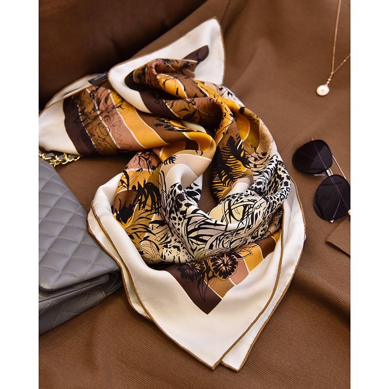 "Fabulous Print 100% Silk Scarf Hijab Head Scarves Women Fashion Silk Shawl Foulard Square 35"""