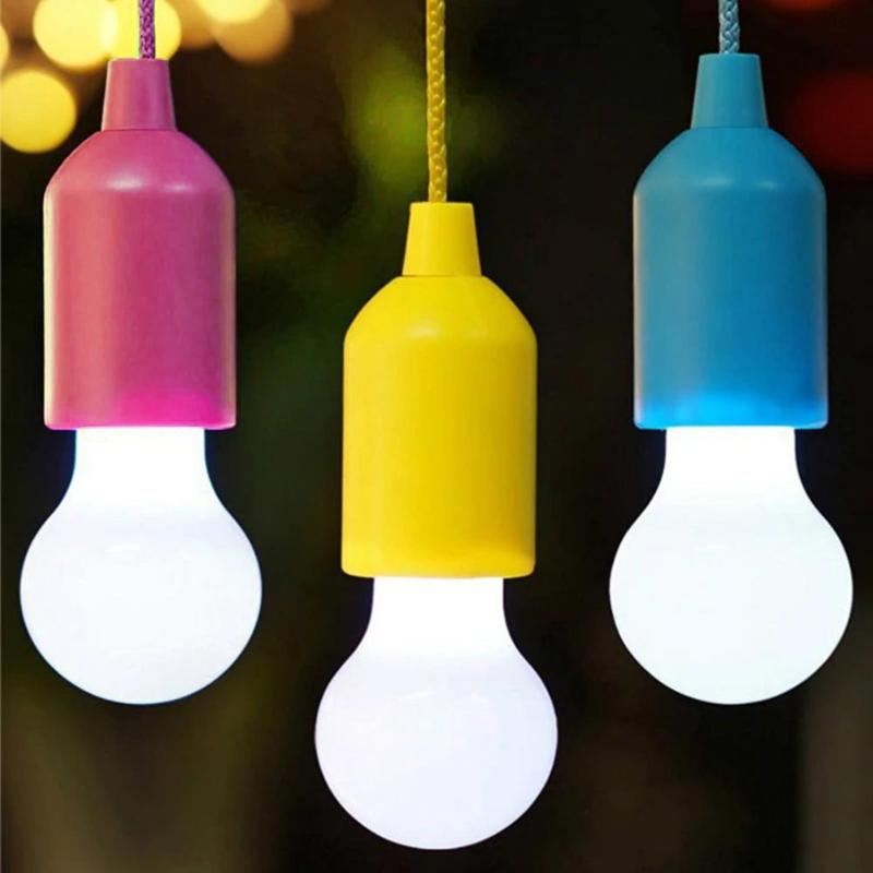 1PC Creative Hanging Light Bulb Battery Powered LED Lamp Colorful Pull Cord Bulb Party Garden Christmas Decoration