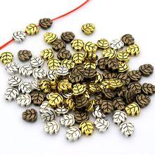 100 шт 7 мм в форме листа свободная тибетская Серебряная амулетная вставка, металлические бусины для изготовления ювелирных изделий Рукоделие DIY аксессуары для браслетов