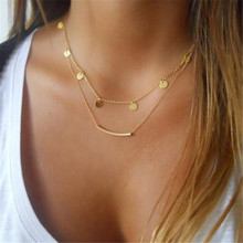 Punk Gold Color Multilayer Necklace 2019 New Round Sequins Choker Necklace Women Jewelry Accessories 4 pcs set new round circle sequins multilayer necklace gold color dainty crystal clavicle chain choker necklace women