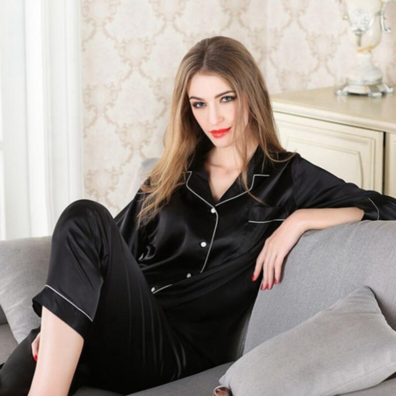 JULY'S SONG Women Faux Silk Satin Pajamas Set Long Sleeve Sleepwear Pajamas Suit Female Sleep 2  Piece Autumn Winter Homewear