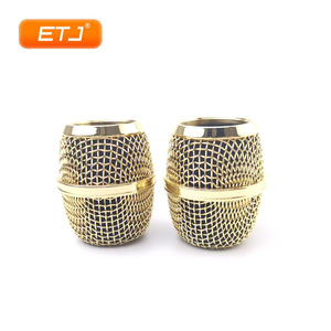 Image 2 - 2pcs Polished Gold Beta87A Mesh Grille Metal Ball For Shure Microphone Accessories Wholesales