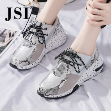 Jsi Vrouwen Sneakers Fashion Snake Print Lace-Up Ronde Neus Microfiber Ondiepe Stevige Schoenen Chunky Platform Casual Vrouwen Flats JX54(China)