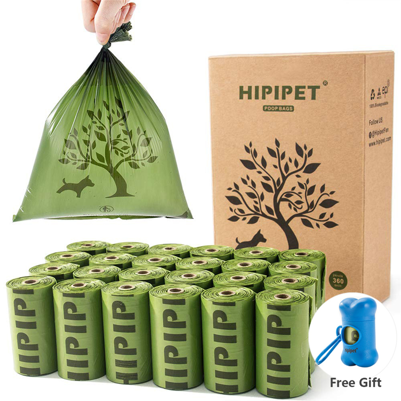 Hipidog 360 Dog Poop Bags Degradable Earth-Friendly Waste Bag For Dogs Doggie Cat Pet 24 Rolls 15 Per Roll Pooper Bags