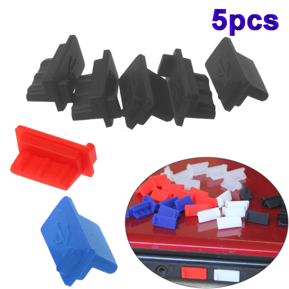 5pcs/set USB Port Computer Accessories Silicone Charging Interface Anti-Dust Plug Dustproof Cap Interface Cover Dust Stopper