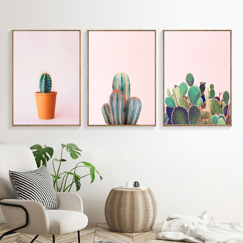 Cactus Succulent Plant Canvas Painting Nordic Poster Wall Art Print Watercolor Pictures For Living Room