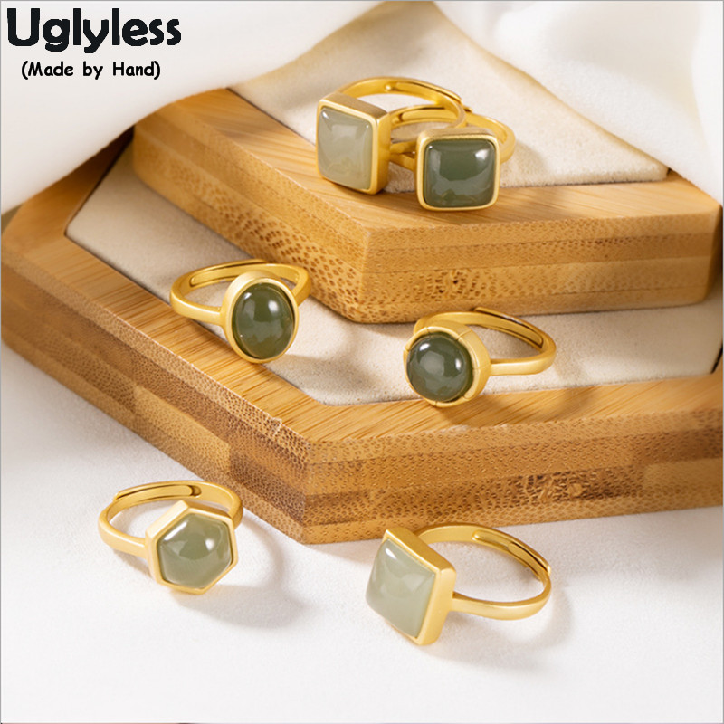 Uglyless Nature Jade Multi Choices Geometric Rings For Women Simple Fashion Square Oval Open Rings Real 925 Silver Jewelry R1031