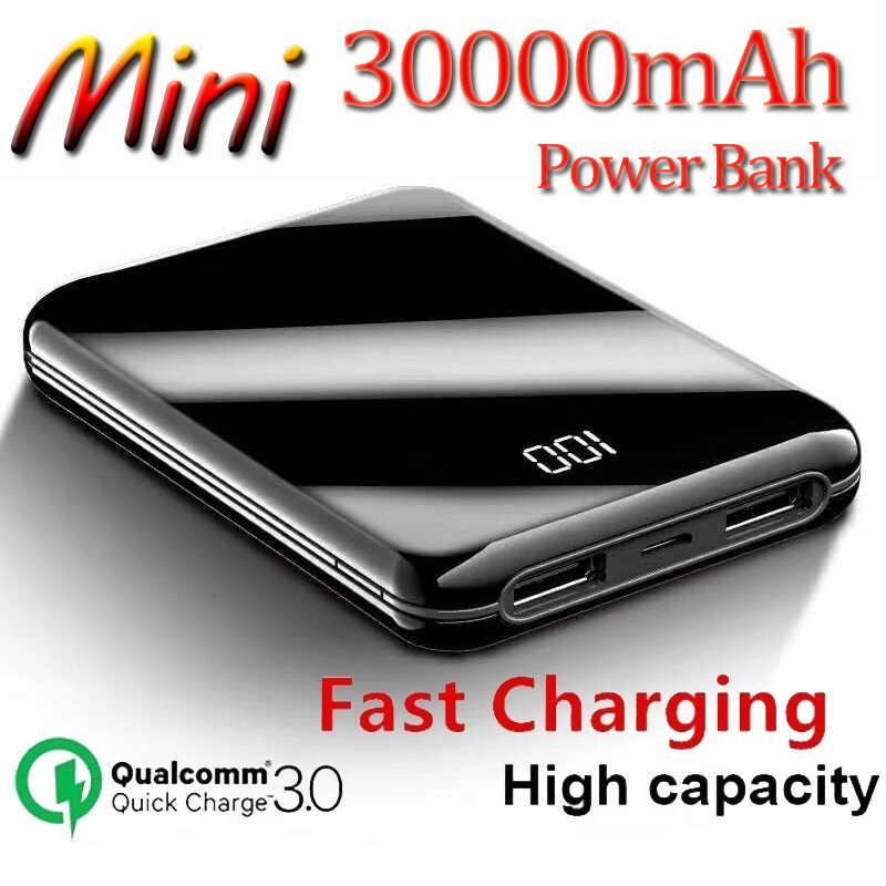 30000 MAh Power Bank Mini Cermin Layar Tampilan Digital Portabel Baterai Ponsel Ultra Tipis Power Bank Outdoor Travel Charger
