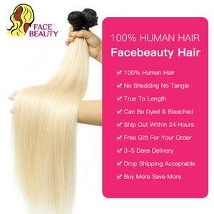 Image 4 - Face Beauty 1B 613 Ombre Blonde Brazilian Straight Hair Bundles 2 Tone Dark Roots Platinum Remy Human Hair Weave 1/3/4 Bundles