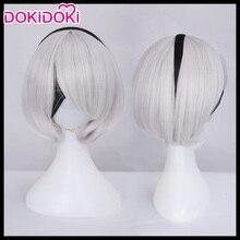 DokiDoki Game Cosplay Wig NieR:Automata 2B YoRHa No. 2 Type B Wigs Women Short White Heat Resistant Hair