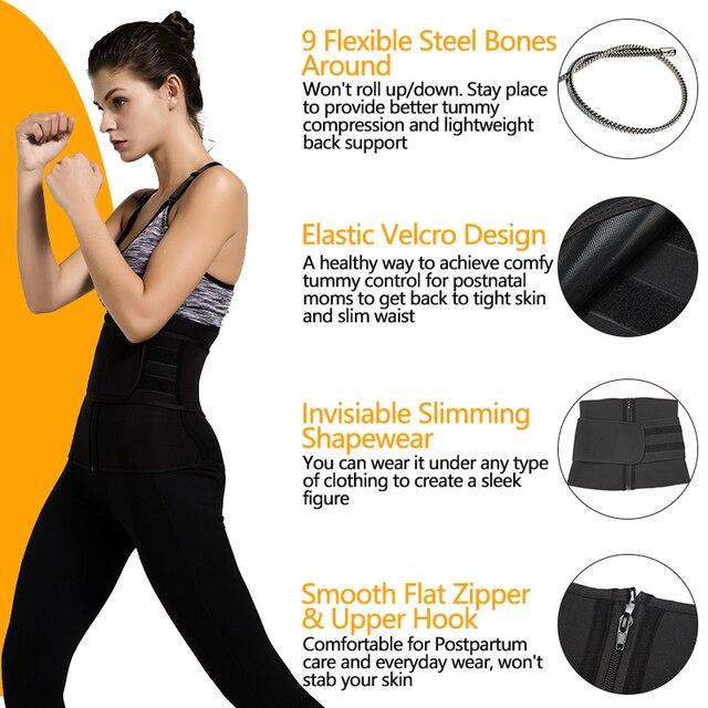 9 Bones Waist Trainer Corsets Neoprene Sauna Sweat Belt Slimming Shaper Fajas Colombianas Modeling Straps Weight Loss Shapewear 3