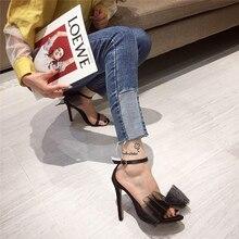 2020 New Fashion White Black Satin High Heels Sandals Sexy Women Open Toe Big Bu