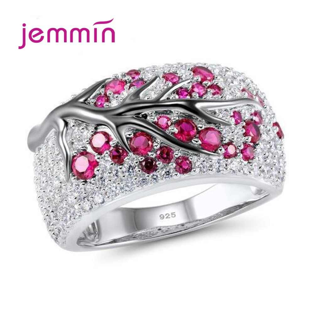Hottest 925 Silver Wide Band Rings Shining Tree Branch Cubic Zircon Crystal Tree of Life Women Men Jewelry Bague Bijoux 4 Color