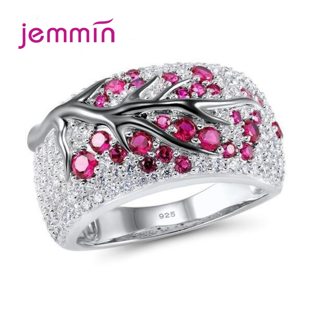 Hottest 925 Silver Wide Band Rings Shining Tree Branch Cubic Zircon Crystal Tree Of Life Women Men Jewelry Bague Bijoux 5 Color