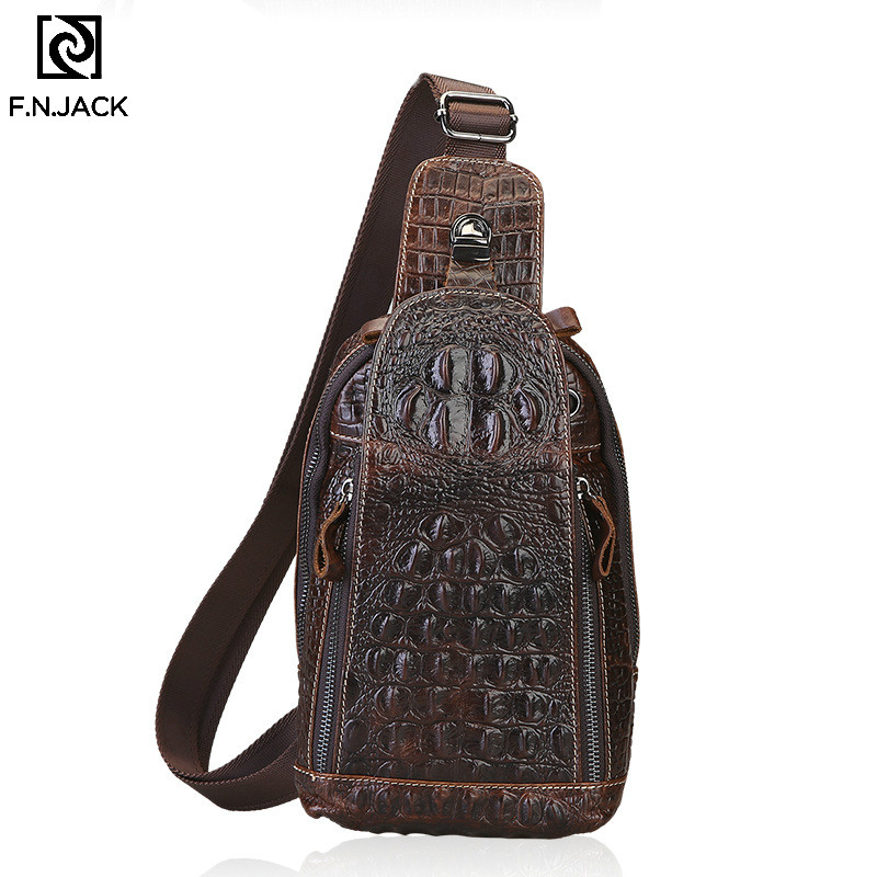 F.N.JACK First Layer Leather Crocodile Chest Bag Men's Leather Oilskin Casual Small Messenger Waist Bag Men's Bag 2019