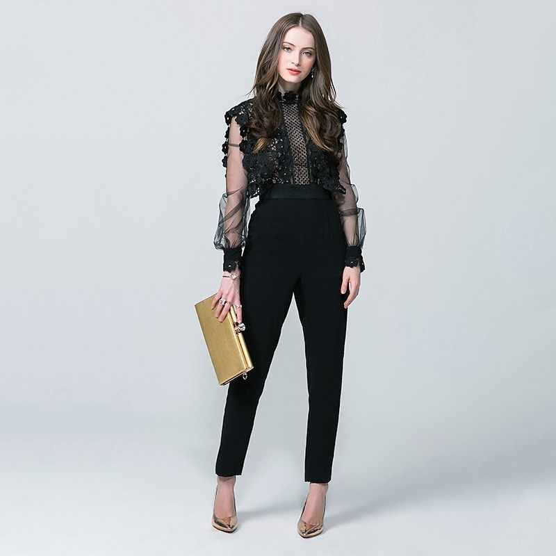 2020 neue Ankunft Overall Vintage Hohe Taille Laterne Hülse Frauen Overall Aushöhlen Slim Fit Körper Feminino Spitze Mesh-Body