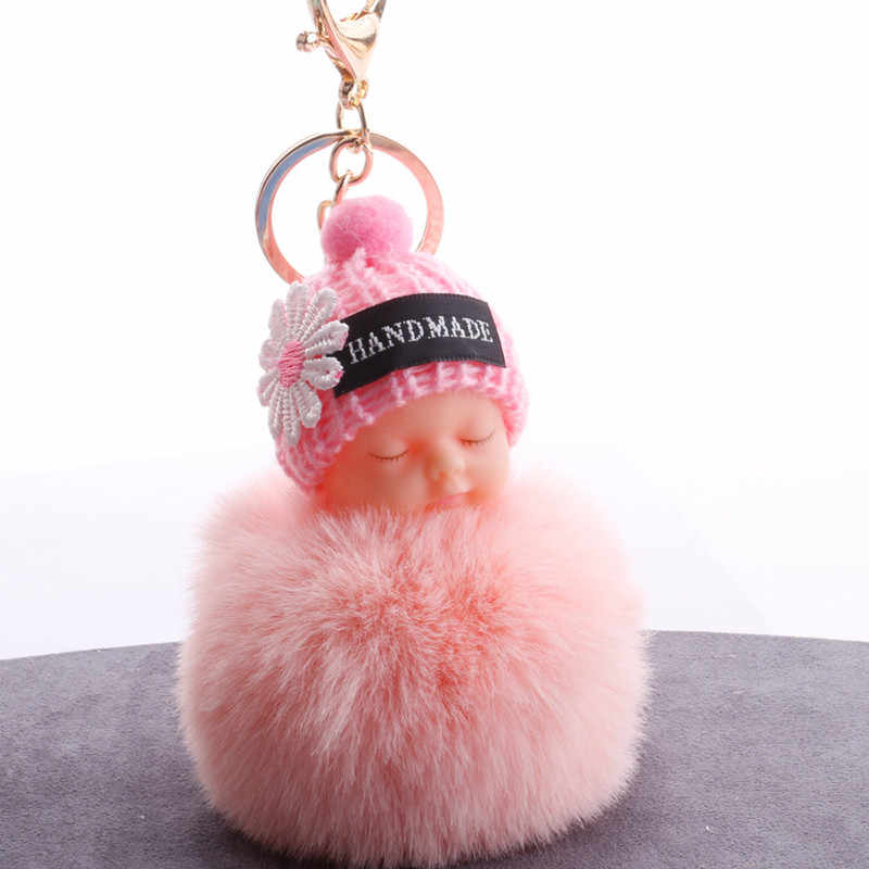Cute Sleeping Baby Plush Doll Kids Baby Toy Fur Ball Key Chain Pendant Girl Bag Ornaments Easter Decor Birthday Favors Xmas Gift