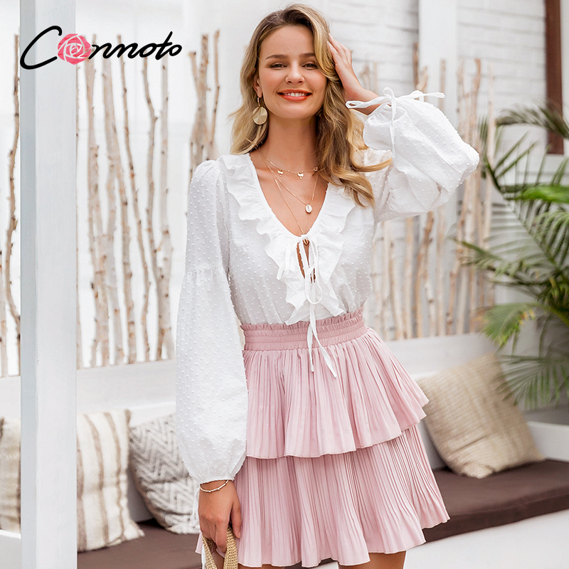 Conmoto Sexy Lantern Sleeve White Blouse Shirt Women Polka Dot Ruffles Blouse Shirts Casual Lace Up Femme Blusas Mujer