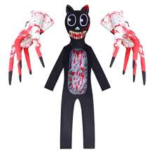 Cosplay-Costume Jumpsuit Black Cat One-Piece Kids Boys for Stage Gloves C55C59 Horror