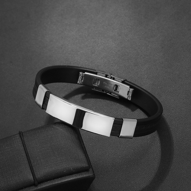 2019 High Quality Titanium Steel Stainless Steel Accessories Charm 5 Clolor Bracelet Silicone Bangle Man Fashion Gift Jewelry