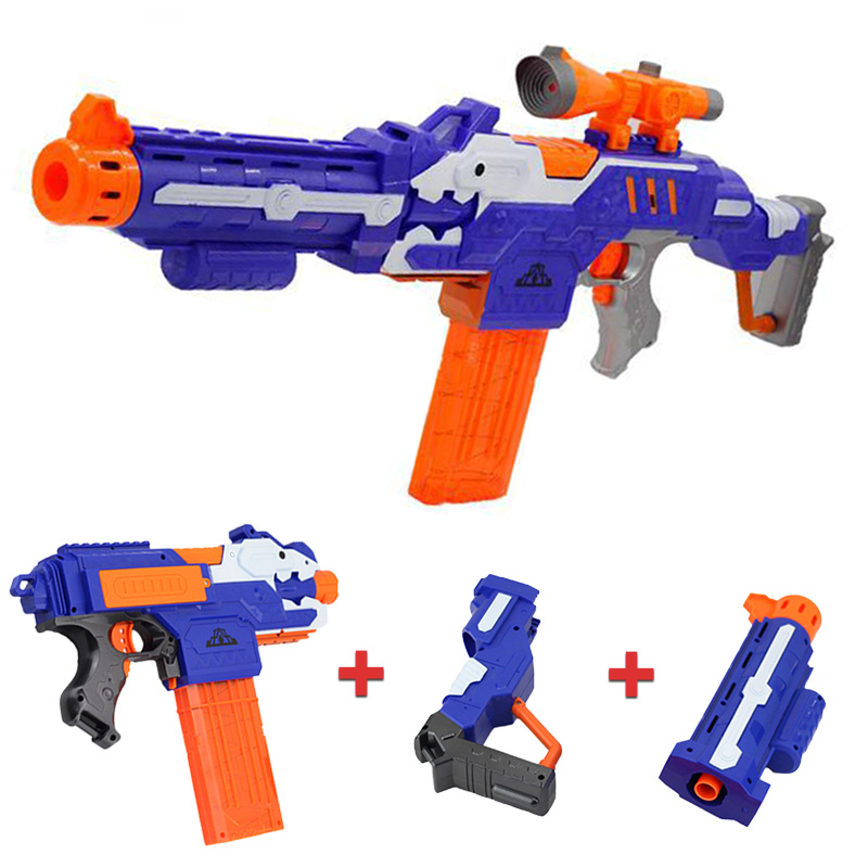4/6PCS DIY Removable Toy Gun VS For NERF Airsoft Air Guns Pistol With Bullets And Sniper Rifle Equipment Children Gun