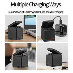 Image 3 - TELESIN 3 Way LED Battery Charger + 3 Battery Pack Charging Box Type C Cable for GoPro Hero 8 7 6 Hero 5 Black Accessories Set
