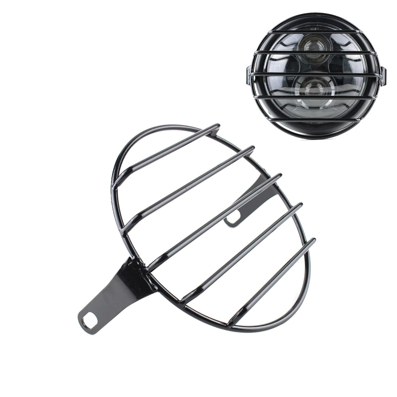 """5.75"""" Motorcycle Universal Vintage Headlight Protector Retro Grill Light Lamp Cover For Harley Ducati Chopper Yamaha Cafe Racer"""