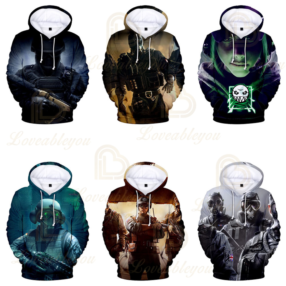 3D Printing Rainbow Six Siege Game Hero Cosplay  Hoodie Men Women Top Hoodie Cosplay Costume Kids Hoodie