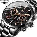 Relógio LIGE dos homens Top Marca de Luxo Moda Casual Relógios de Quartzo Homens de Negócios Do Esporte Militar Masculino Relógio À Prova D' Água reloj hombre