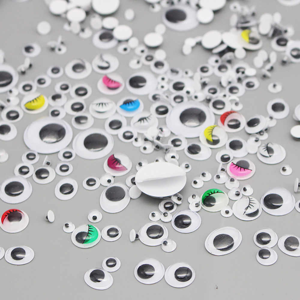 4mm to 25mm Yesland 2260 Pcs Wiggle Eyes Perfect for DIY Craft Scrapbooking Decorations Activities Parties Round Plastic Self-Adhesive Black Googly Eyes