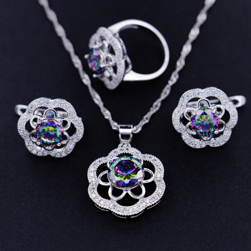 GZJY Women Round Crystal 925 Silver Jewelry Sets Drop Earrings Necklace Pendant Wedding Ring Sets for Cocktail Party Gift(China)