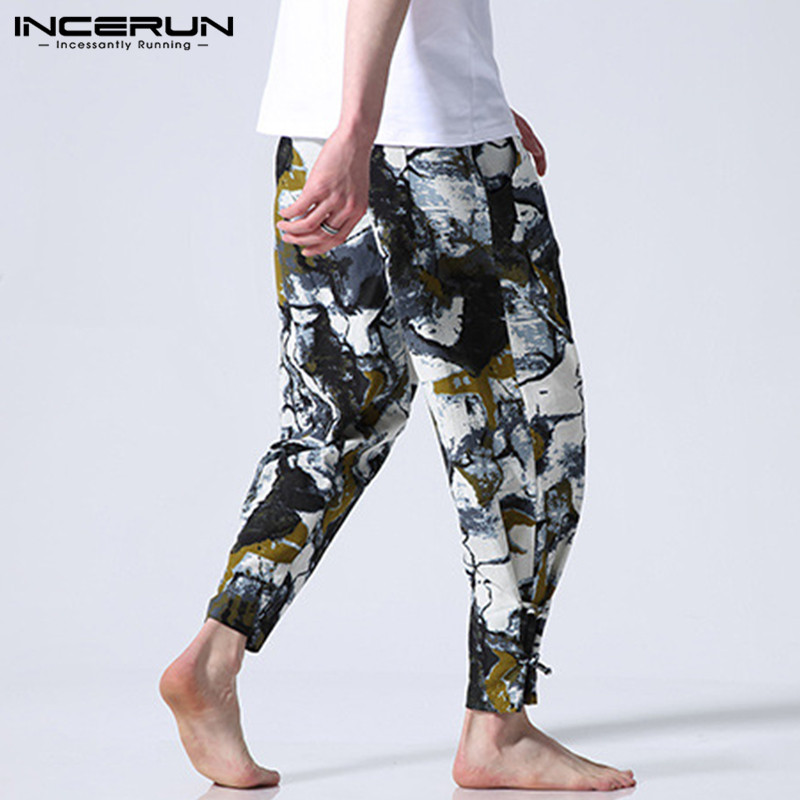 INCERUN Ethnic Floral Printed Men Pants Casual Wide Legs Pants Casual Fitness Baggy Cotton Streetwear Harem Trousers Joggers9 3