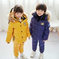 -30 degrés hiver enfants doudoune chaude costume garçon imperméable doudoune + épais pantalon filles ski doudoune costume 90%
