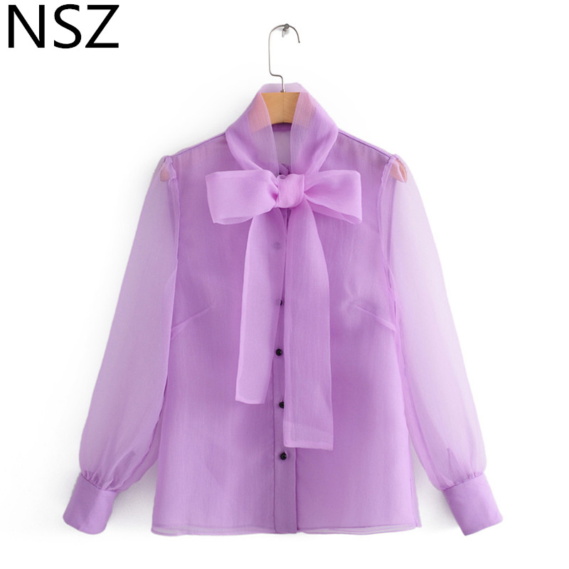 NSZ Women Organza Blouse Transparent Shirt Sheer Top See Through Top Bow Tie Neck Office Lady Tunic Blusas Camisa Chemise Purple(China)
