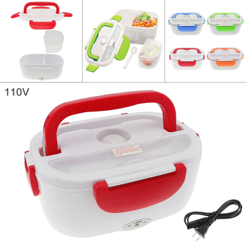 цена на New 110V 1.5L One-piece Type Portable Food Warmer Heating Keeping Electric Lunch Box with Spoon / US Charging Line