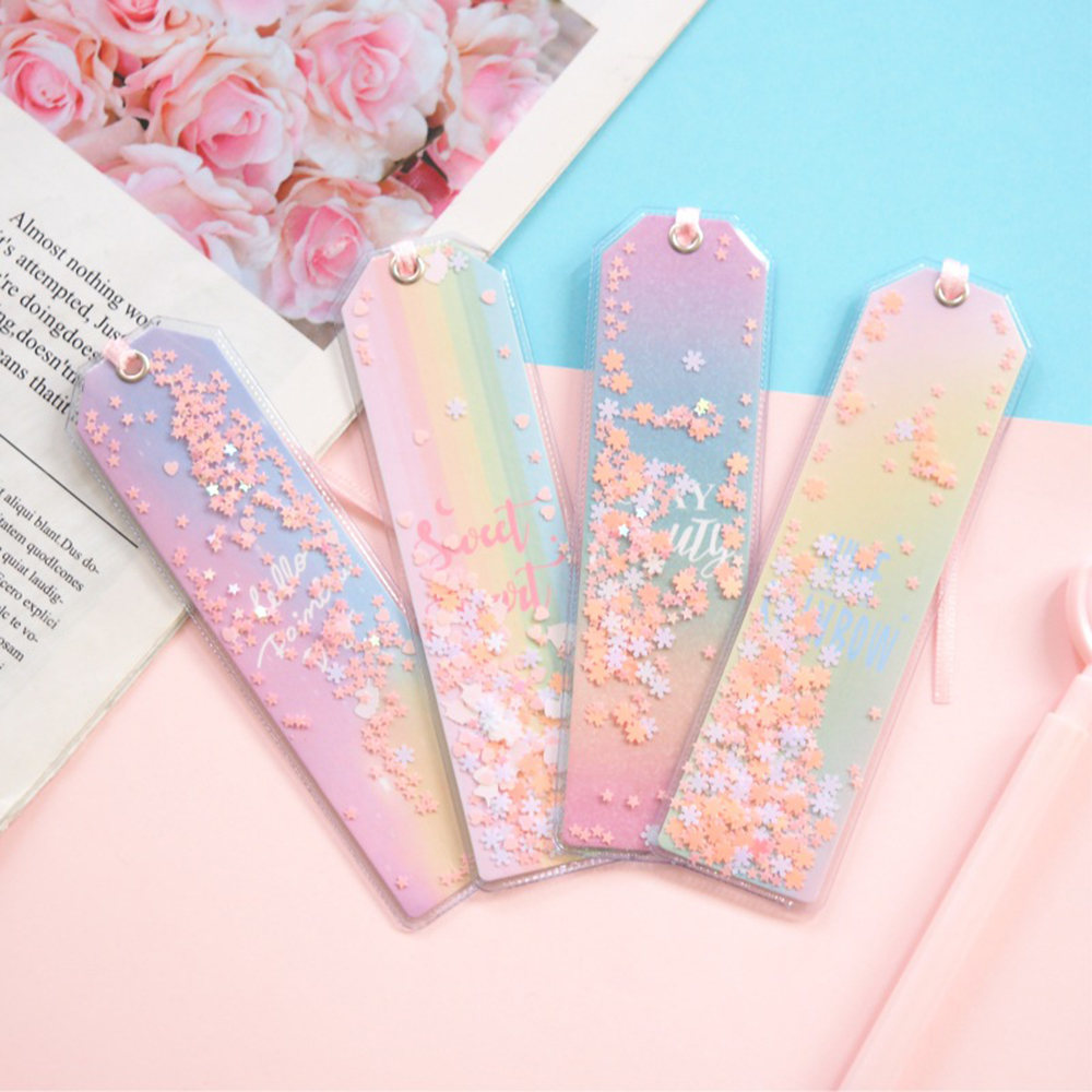 1 Pcs Cute Laser Shimmering Star Rainbow Color Transparent Bookmarks For Book Paper Files Page Holders Organizer Stationery