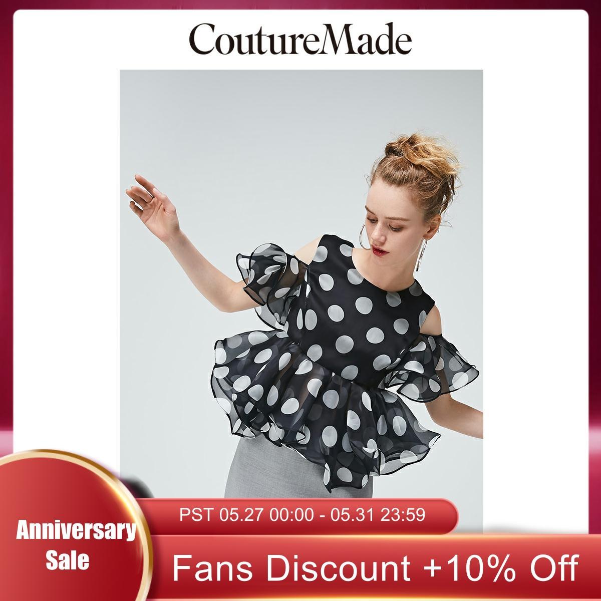 Vero Moda CoutureMade Women's Off-the-shoulder Ruffled Mulberry Silk Chiffon Top Blouse | 31926X530