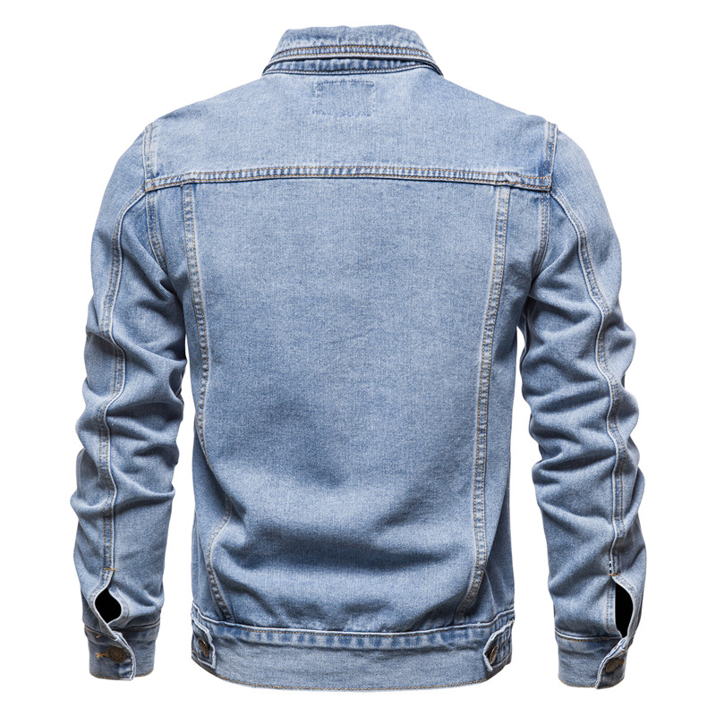 New 2020 Cotton Denim Jacket Men Casual Solid Color Lapel Single Breasted Jeans Jacket Men Autumn Slim Fit Quality Mens Jackets 3