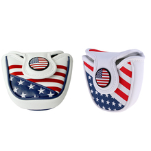2x PU Leather Golf Headcovers Head Cover  Closure Mallet Putter