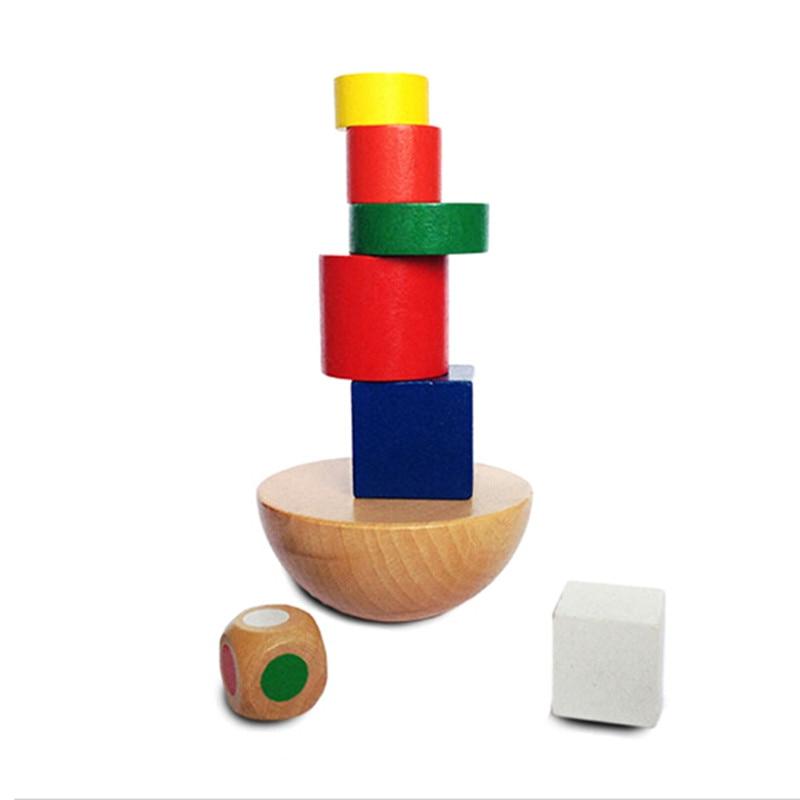 Wooden Geometric Blocks Kids Balancing Training Game Montessori Early Educational Toys Children Family Game Blocks SA979602